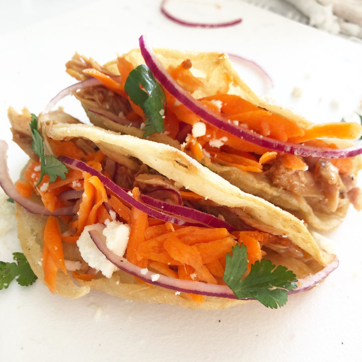 asian tacos on white background
