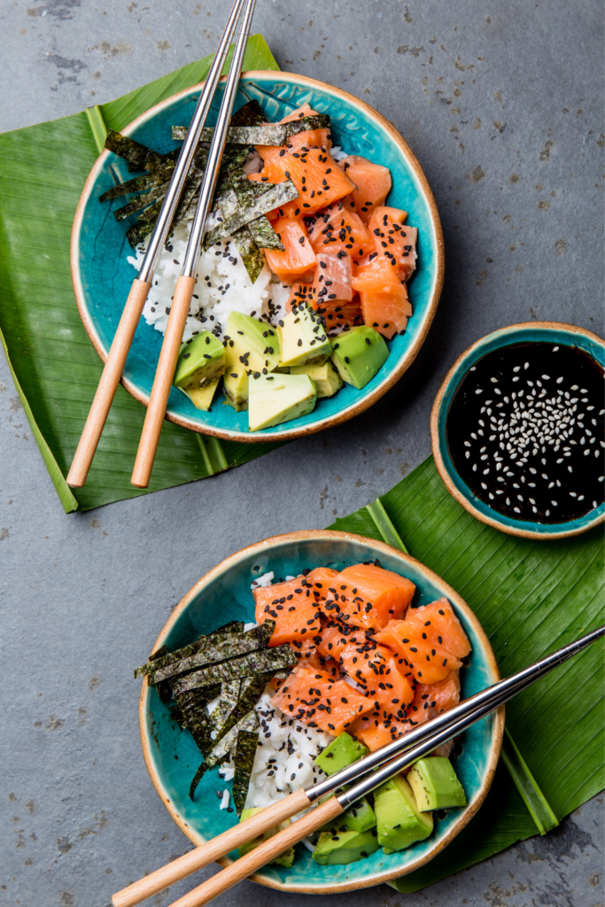 salmon and avocado sushi bowl