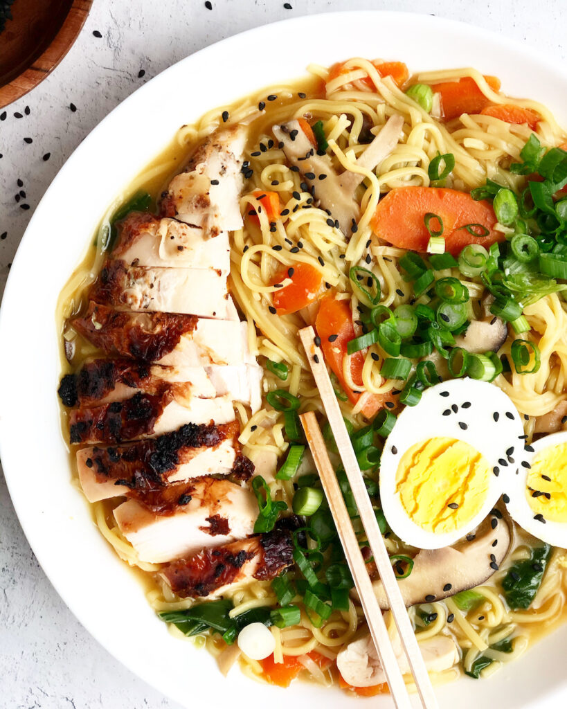homemade ramen with chicken and egg