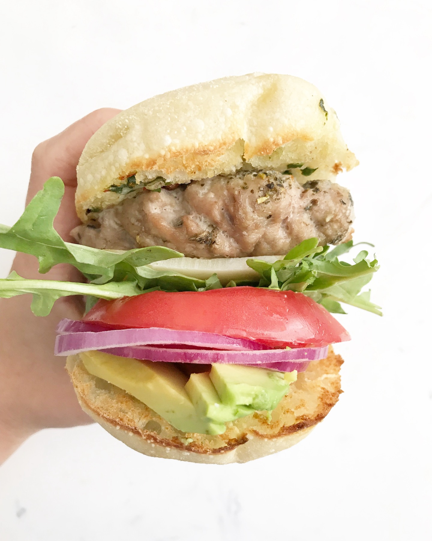 Turkey burger with sun dried tomato compound butter