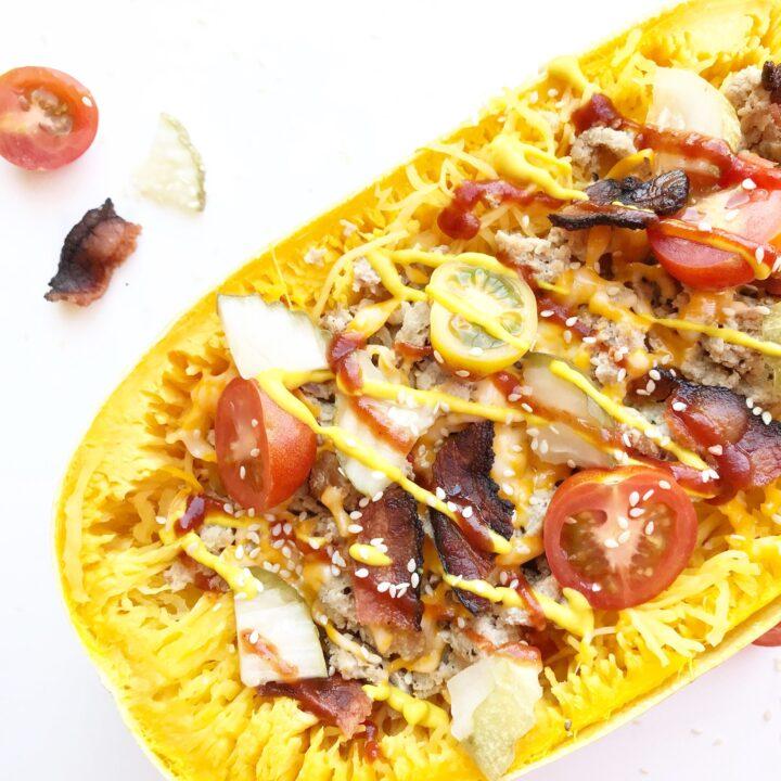 Cheeseburger Stuffed Spaghetti Squash