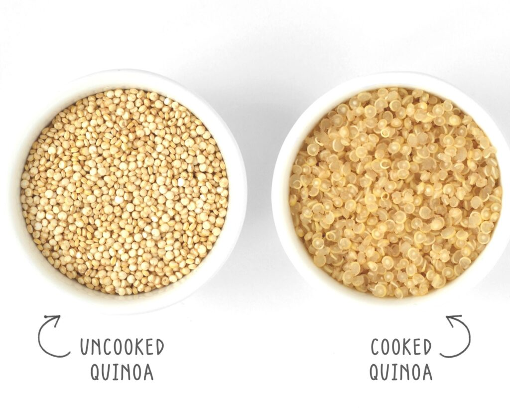 uncooked quinoa in a bowl and cooked quinoa in a bowl