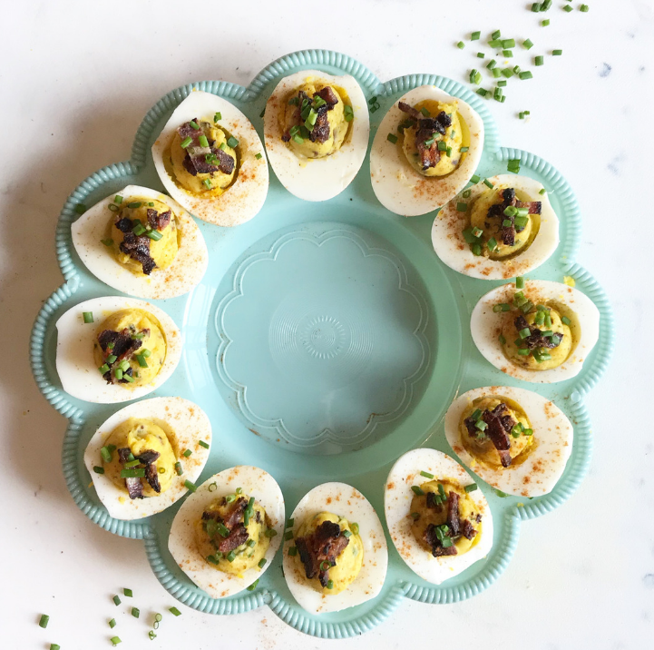 The perfect deviled eggs with Black Forest bacon