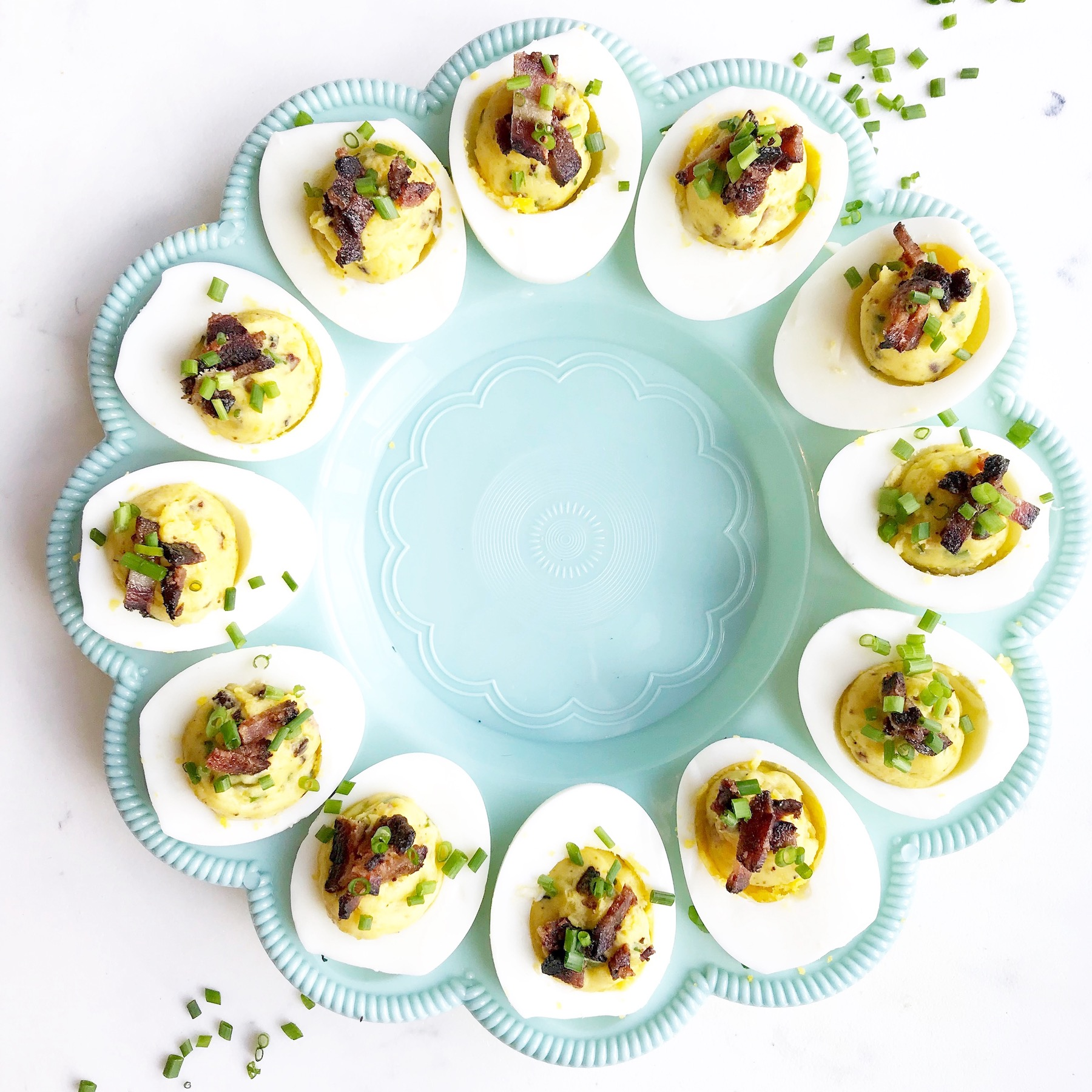 The perfect deviled eggs with blackforest bacon