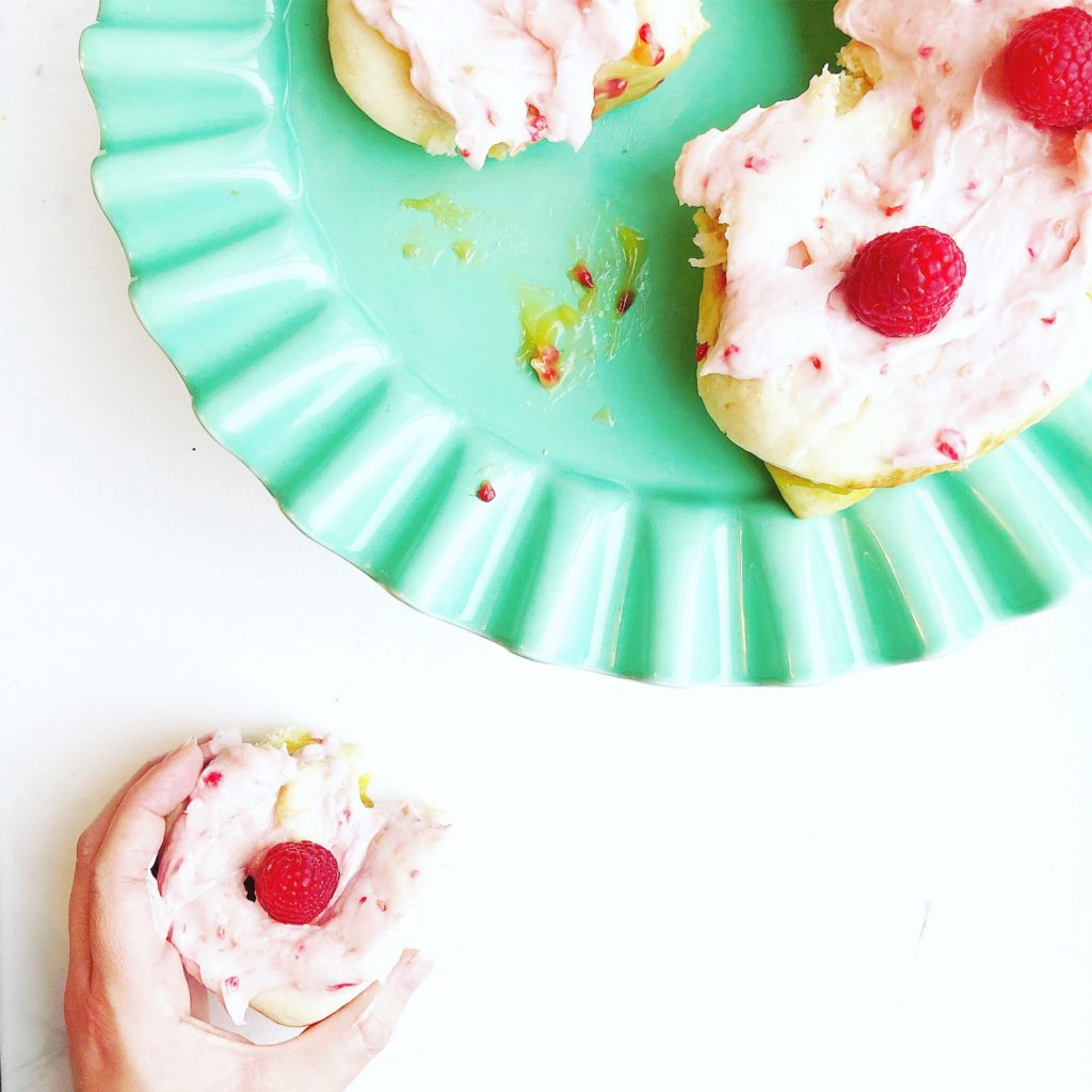 lemon rolls with raspberry cream cheese frosting