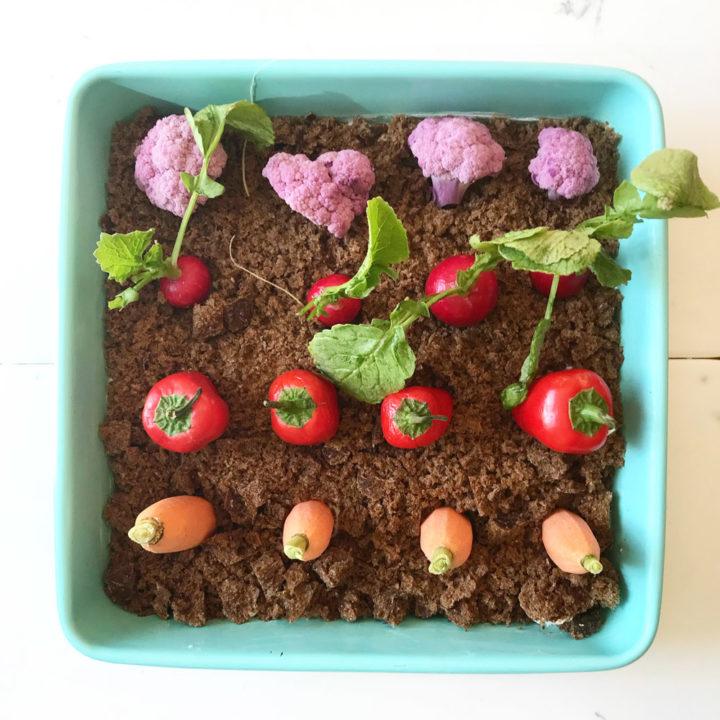 Easter garden crudite dip with vegetables