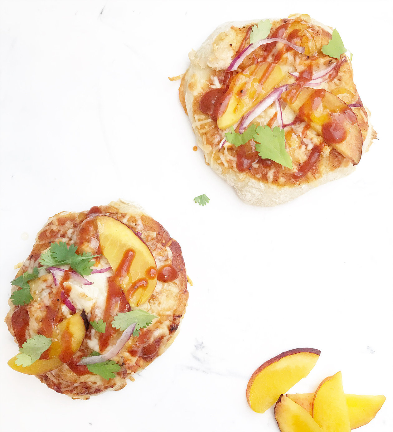 BBQ chicken peach pizza