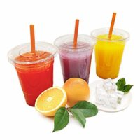 TashiBox 16 oz-100 Sets crystal clear plastic cups with lids, 16 oz, Disposable Ice Coffee