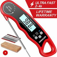 "GDEALER DT09 Waterproof Digital Instant Read Meat Thermometer with 4.6"" Folding Probe Calibration Function for Cooking Food Candy, BBQ Grill, Smokers"