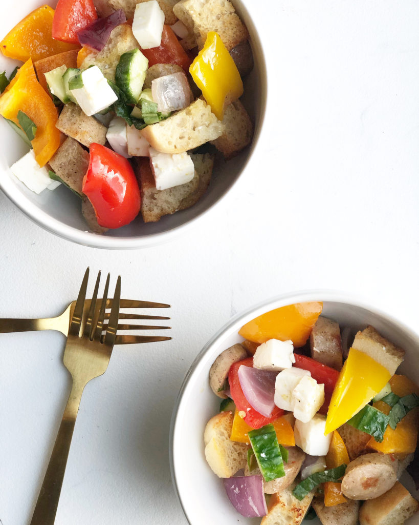 panzanella salad in bowls