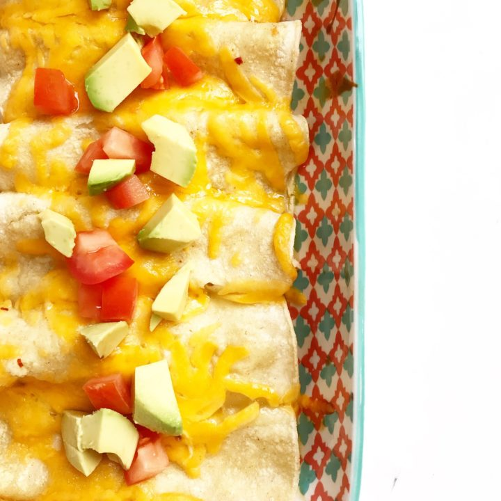 chicken enchiladas with toppings