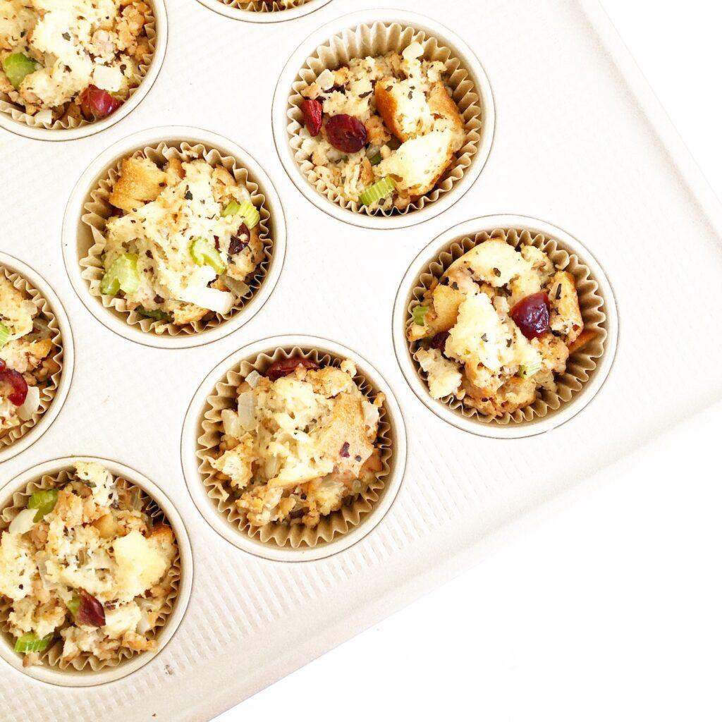 stuffing muffins in muffin tin