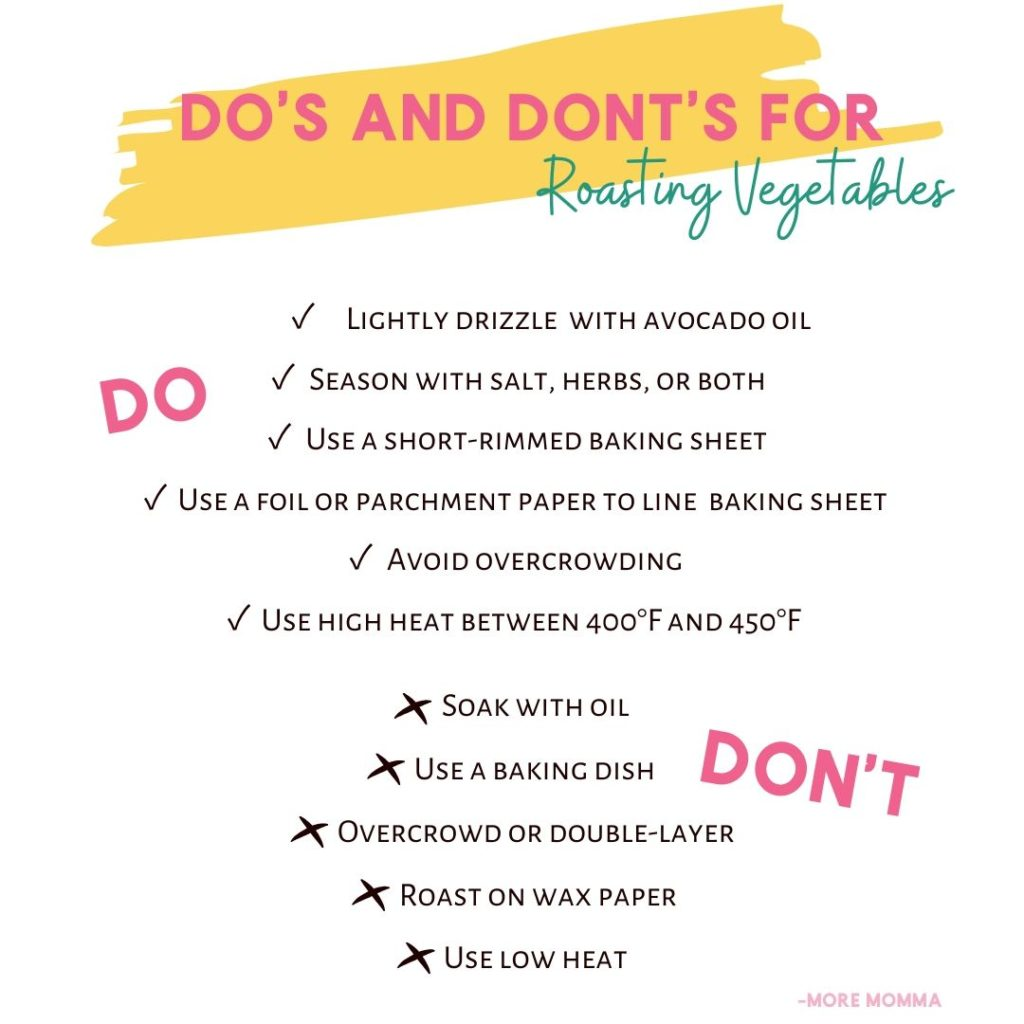 do and dont list for roasting vegetables