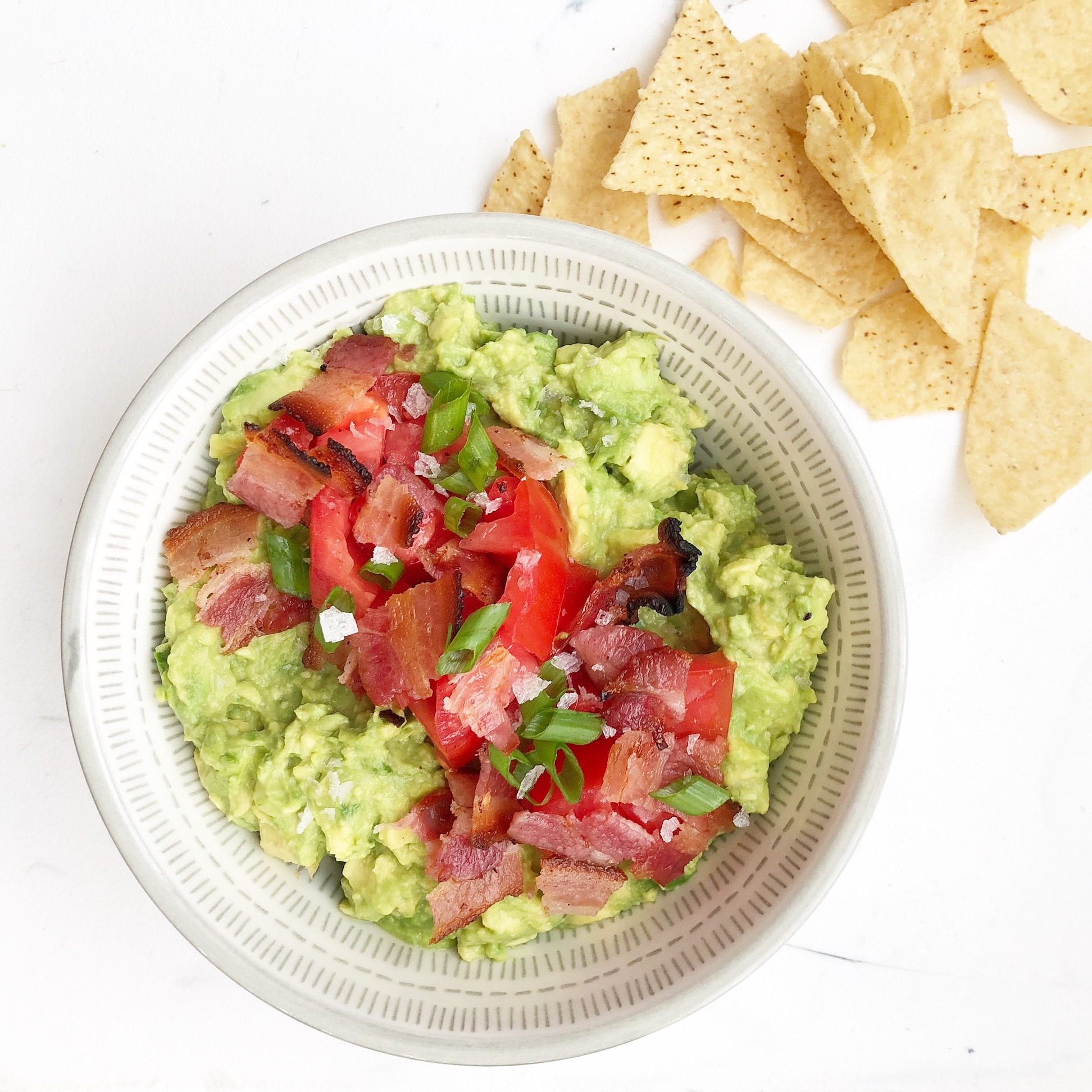 loaded guacamole with bacon and tomatoes