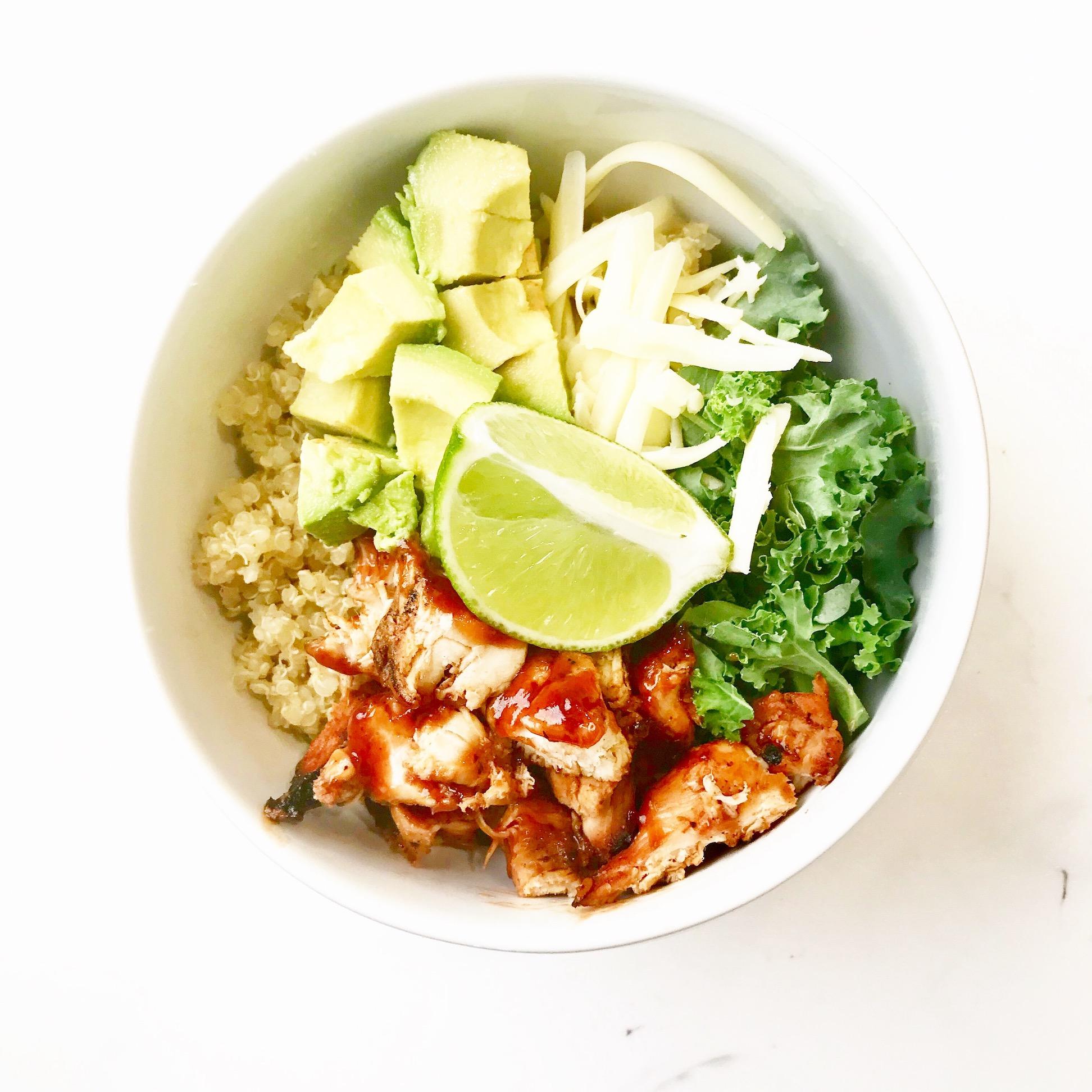 BBQ chicken quinoa bowl