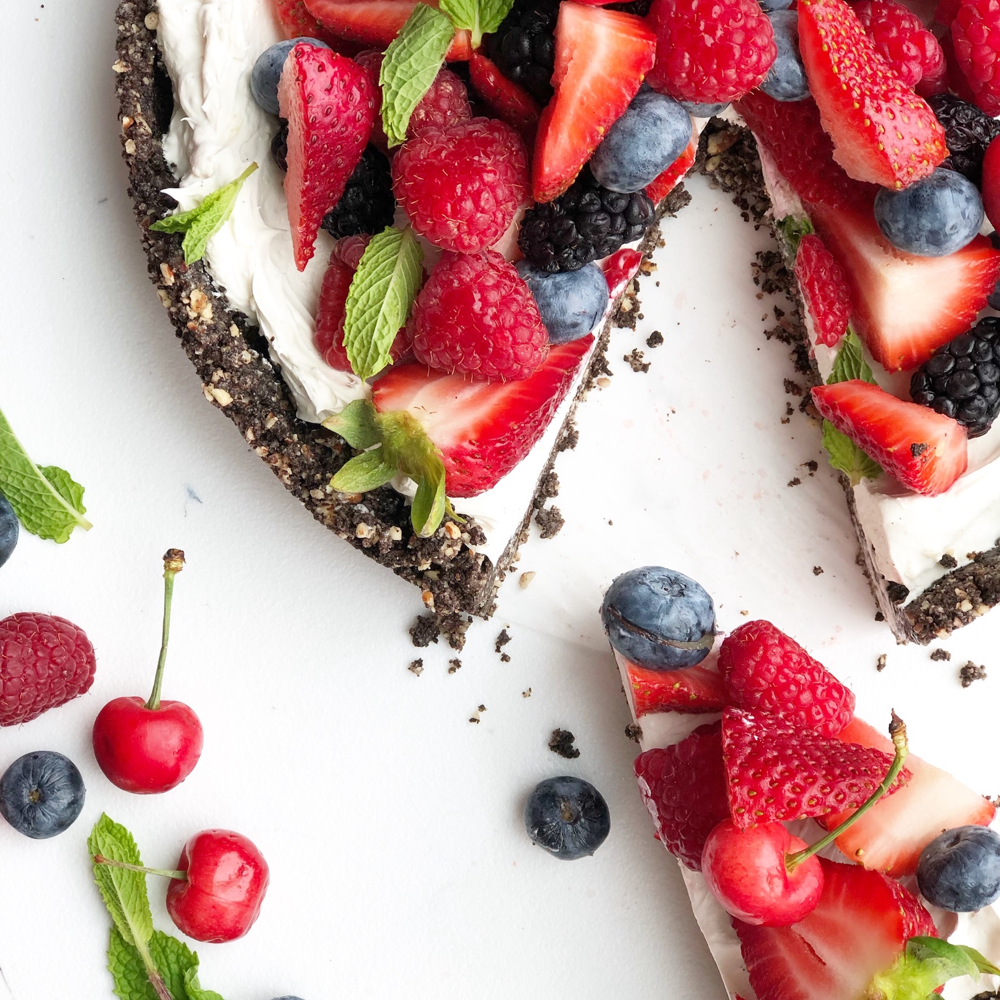 summer berry no-bake cheesecake tart