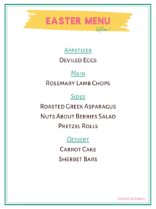 Easter Menu Option 1