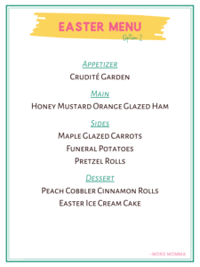 Easter Menu Option 2