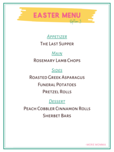 Easter Menu Option 3