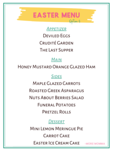 Easter Menu Option 4