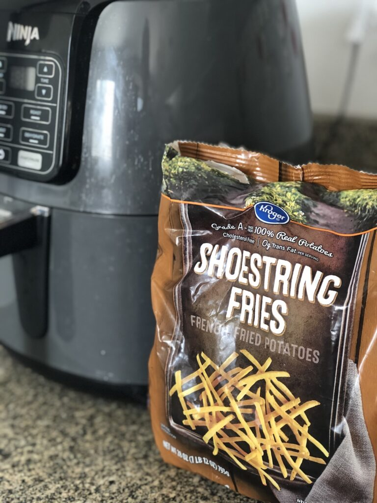 air fryer with frozen french fry bag