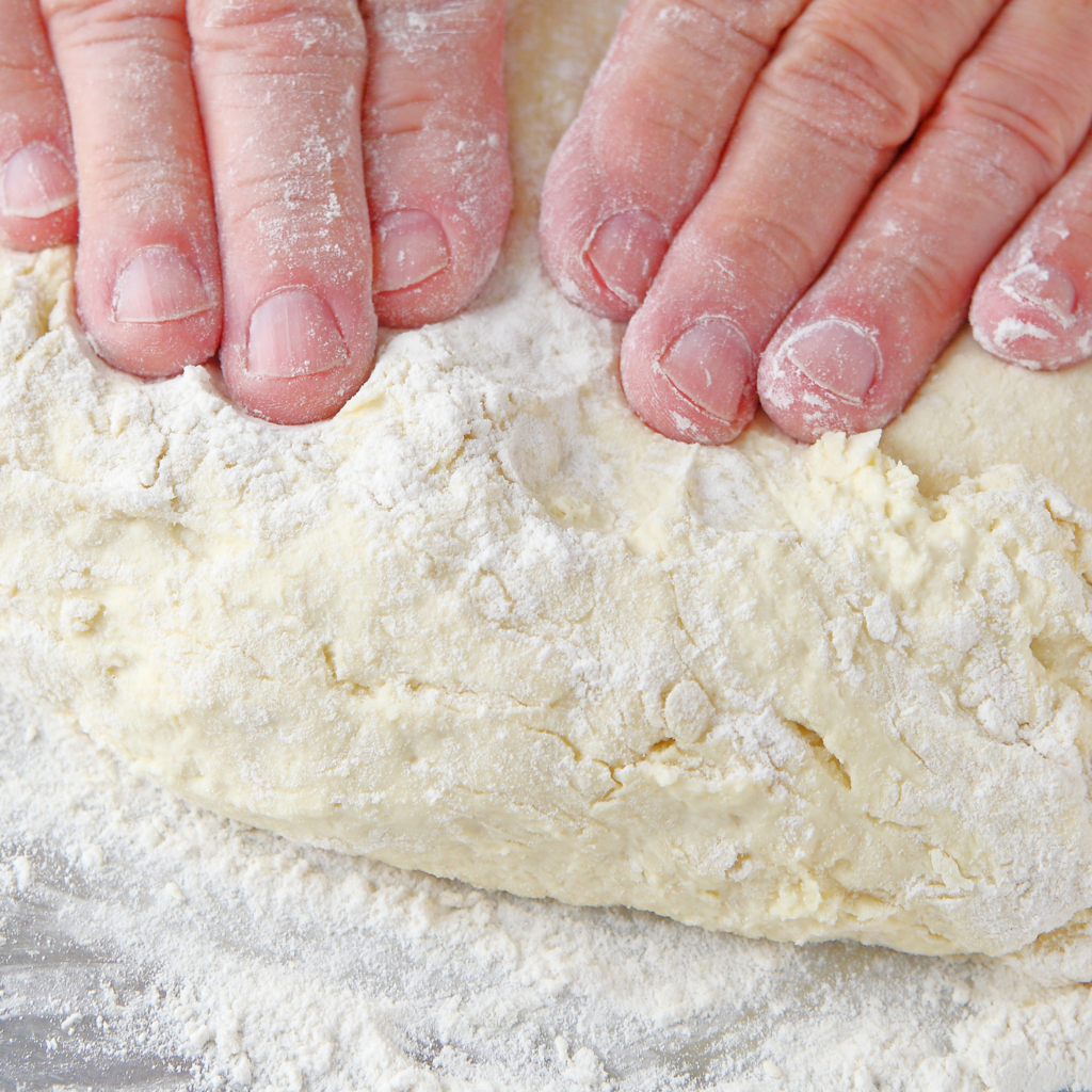 folding biscuit dough