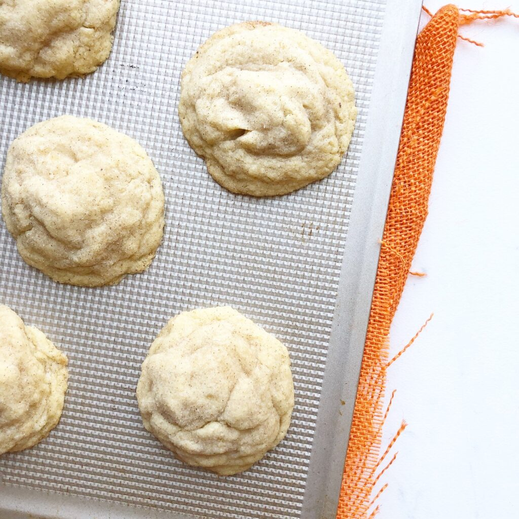 snickerdoodles on a cookie sheet