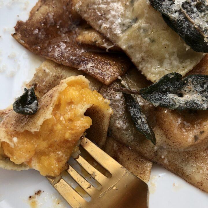 butternut squash ravioli on fork
