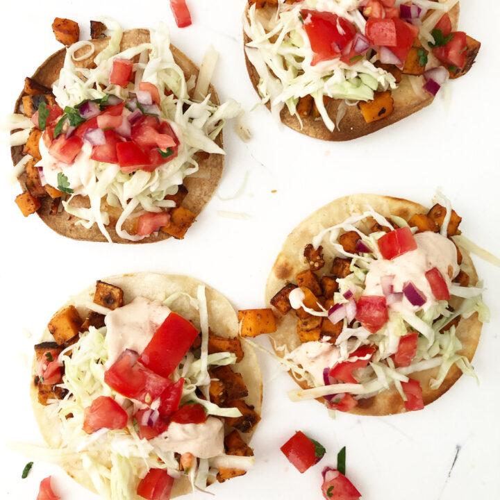 sweet potato tacos on a white background