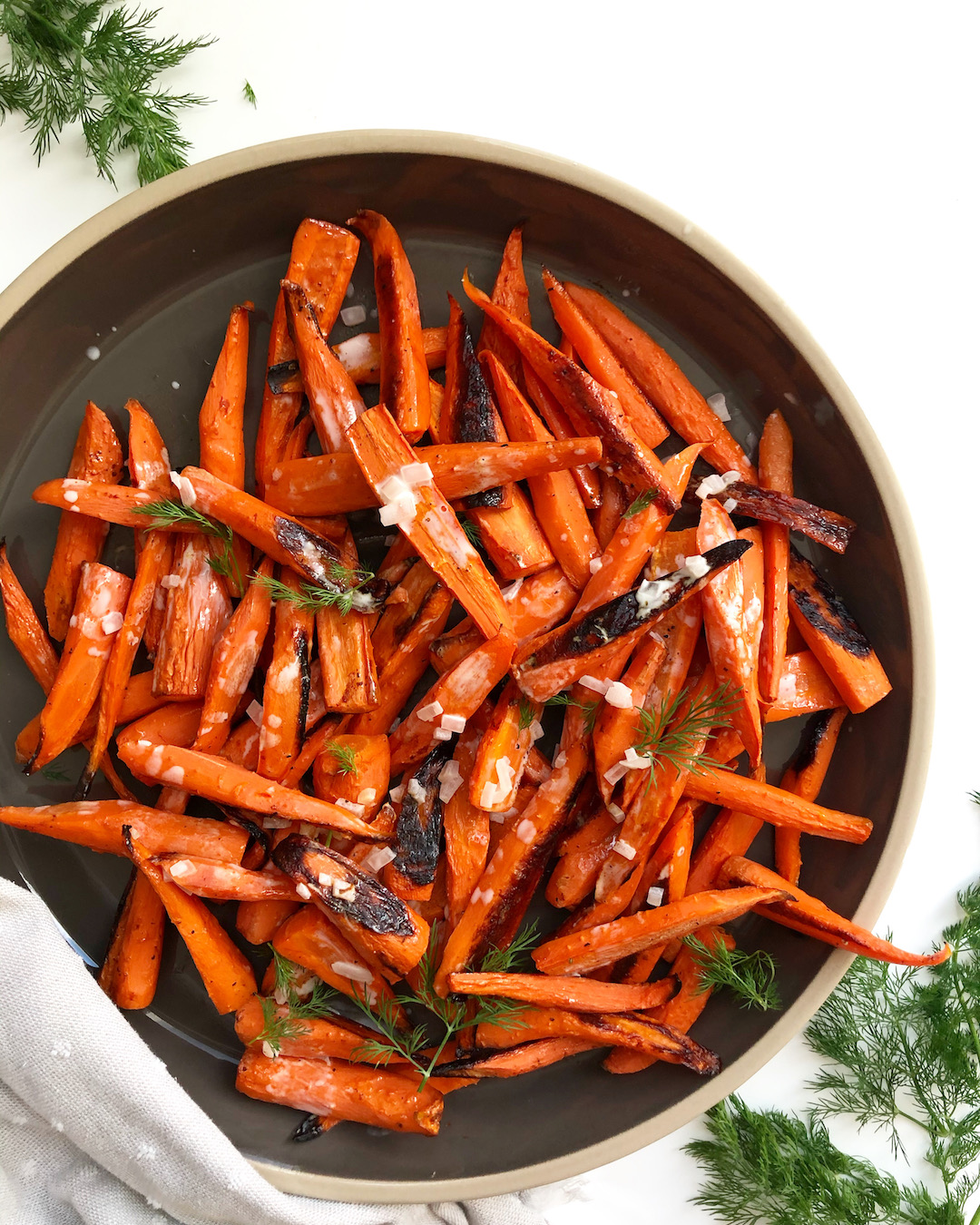 roasted carrots on a platter