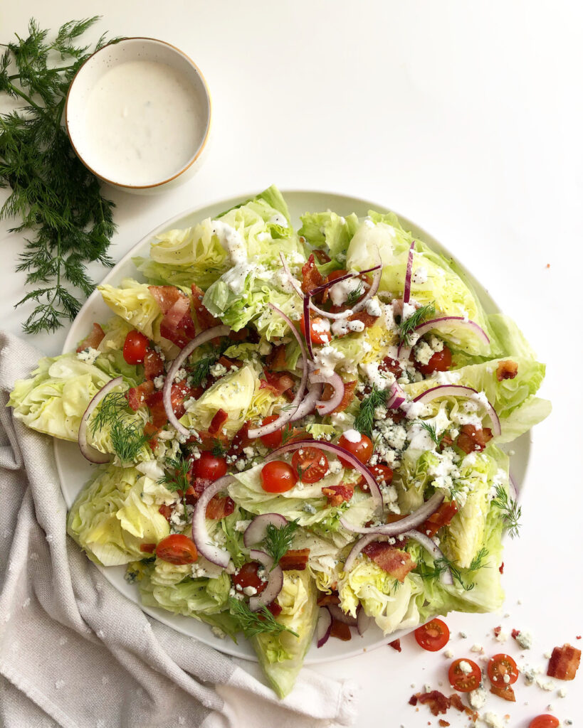 wedge salad with side of blue cheese dressing