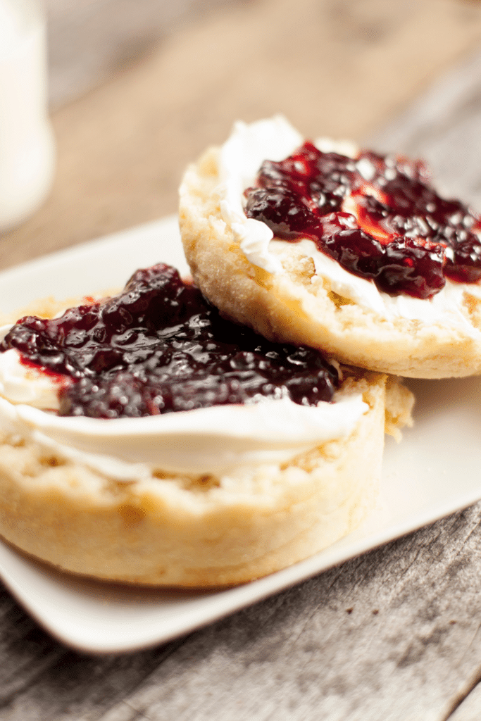 english muffin with cream cheese and jam