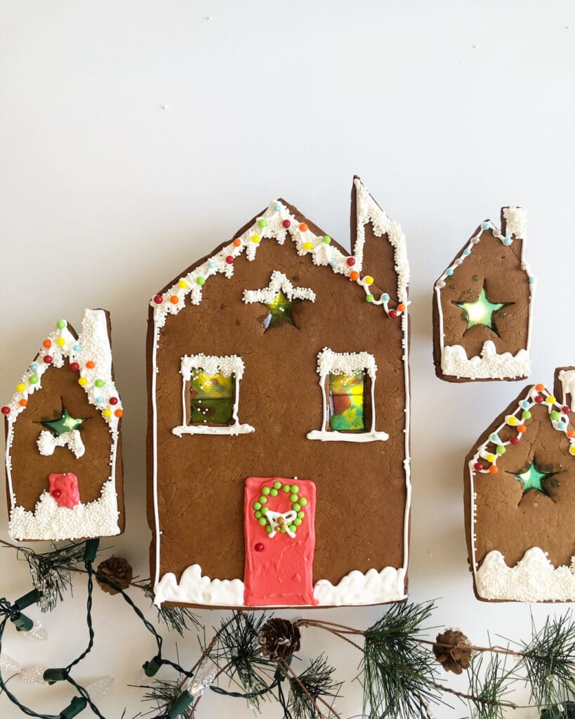 gingerbread house cookies with stained glass windows
