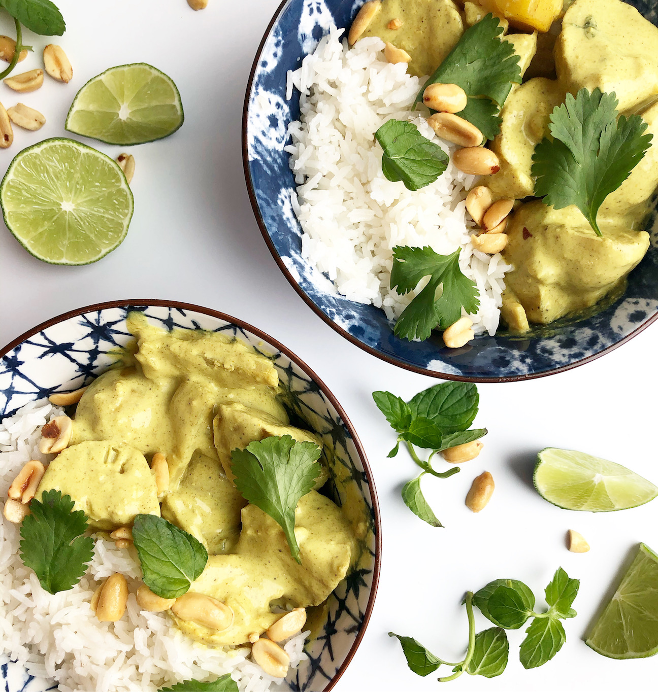 yellow chicken curry with rice