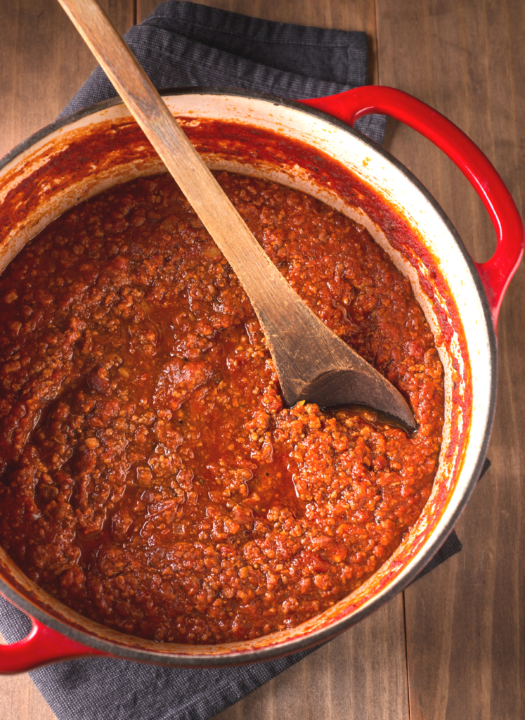 Homemade bolognese sauce in a pot