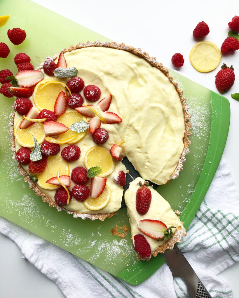 creamy lemon tart with fresh berries