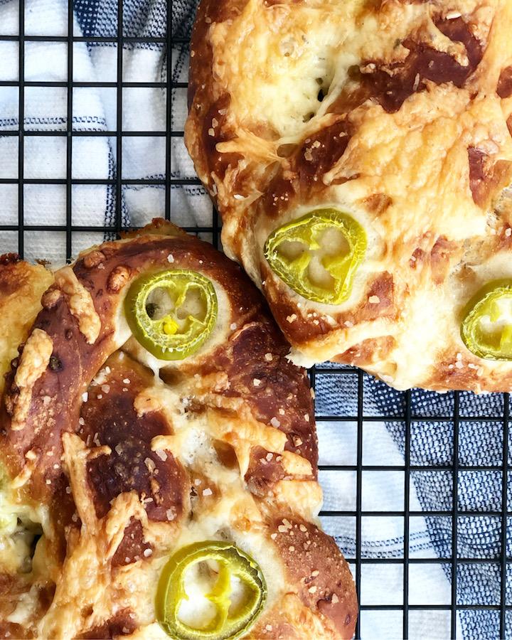Jalapeno Cheese Sourdough Soft Pretzels