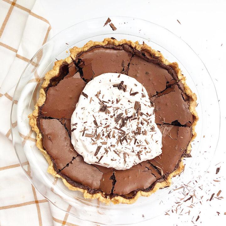 chocolate chess pie with homemade whipped cream