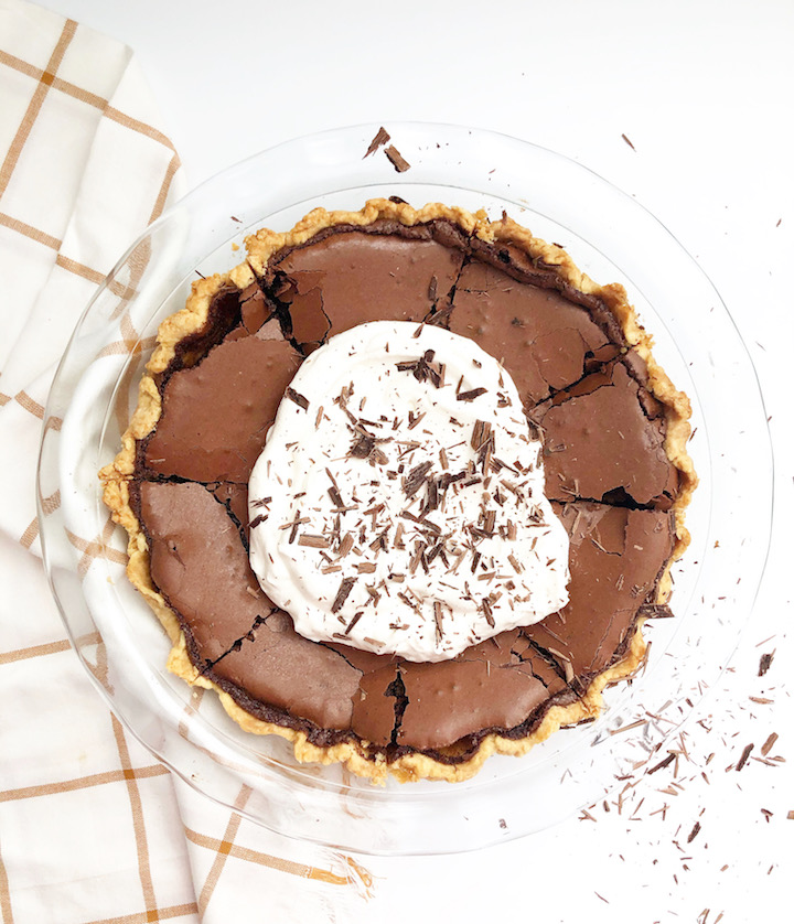 chocolate chess pie with homemade whipped cream