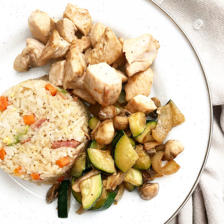 Hibachi Chicken with Fried Rice and Vegetables