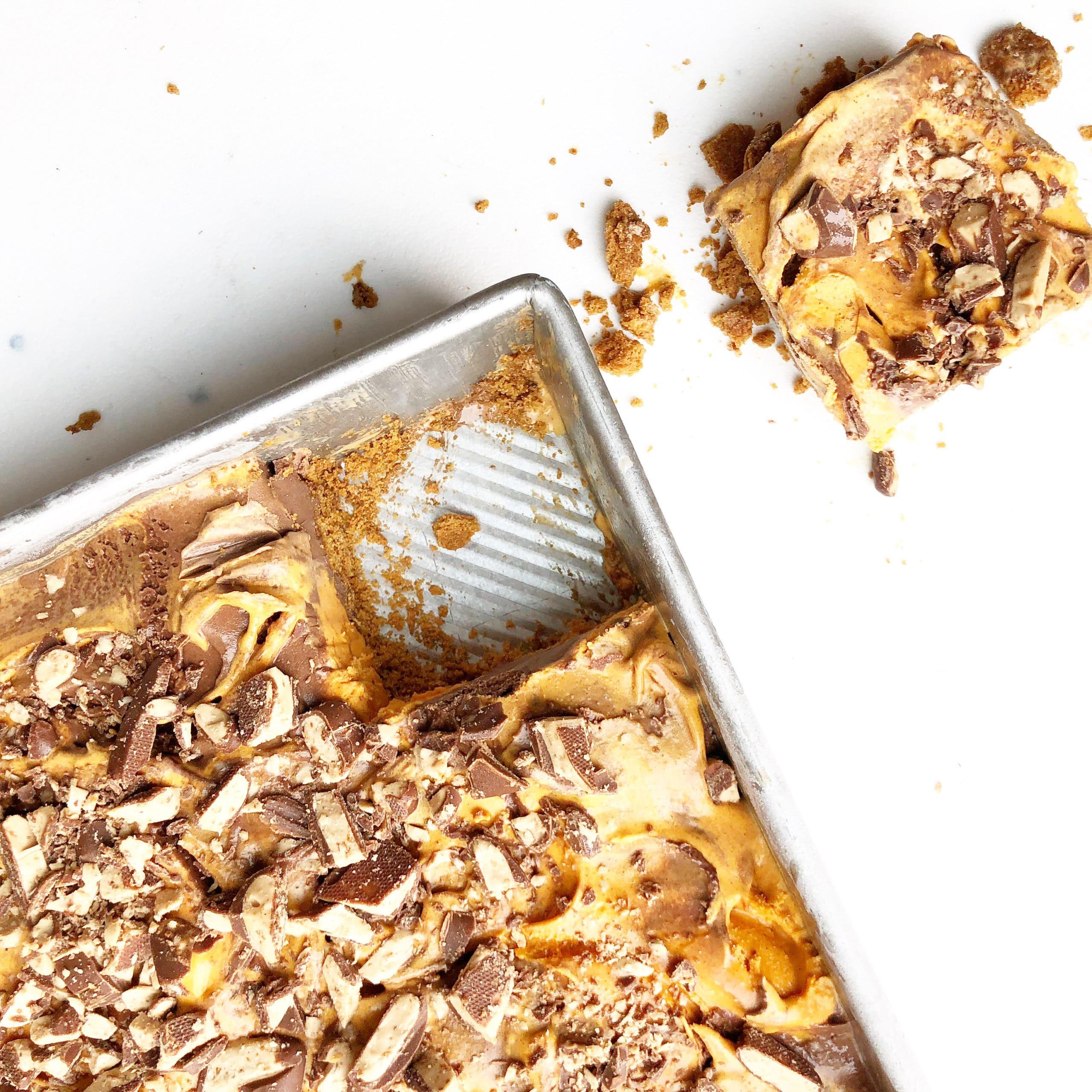 Pumpkin Ice Cream Dessert on a sheet tray