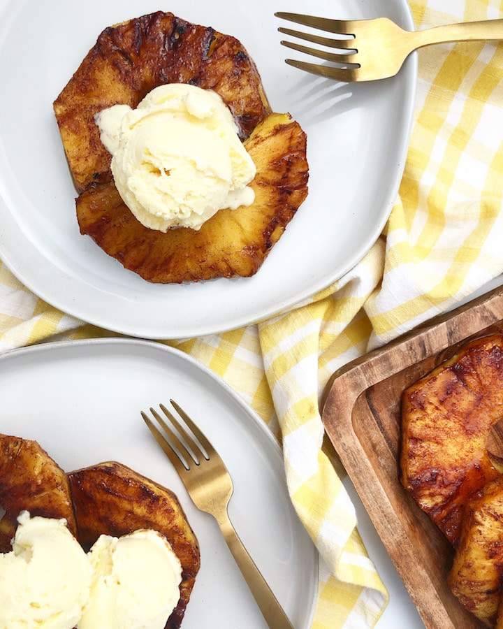 Grilled Cinnamon Brown Sugar Pineapple Topped With Ice Cream