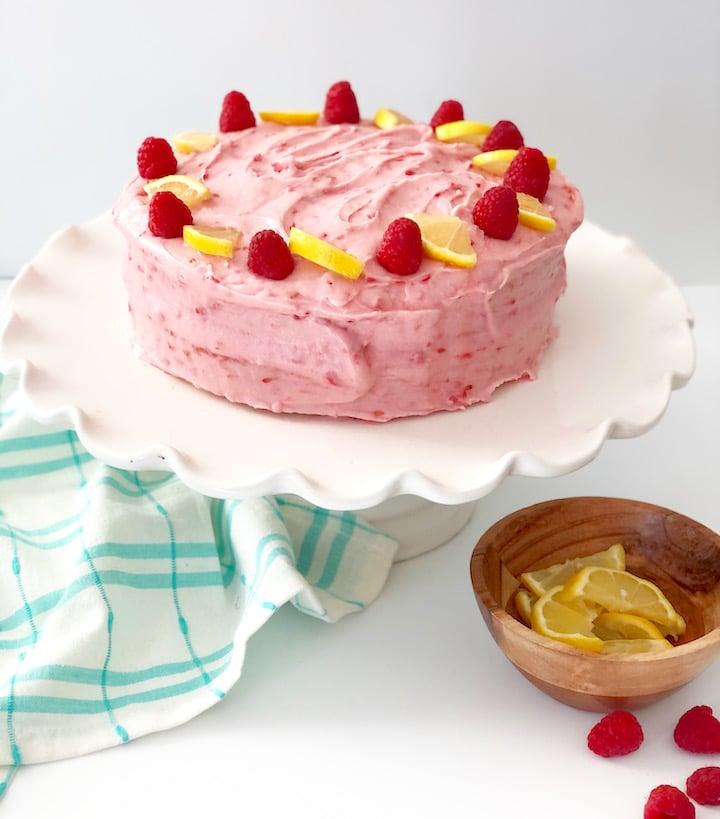 Lemon Cake With Raspberry Cream Cheese Frosting