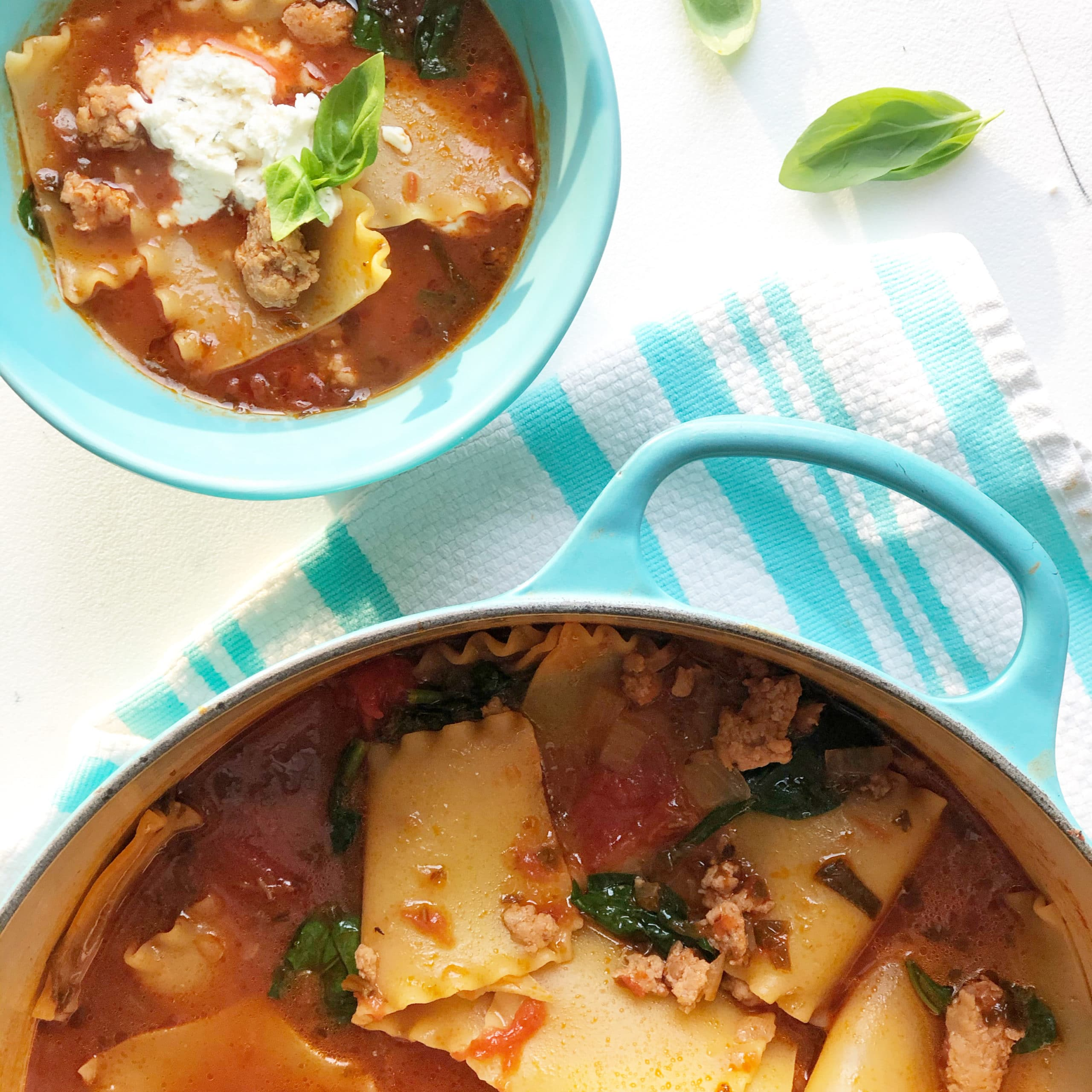 lasagna soup in a blue bowl
