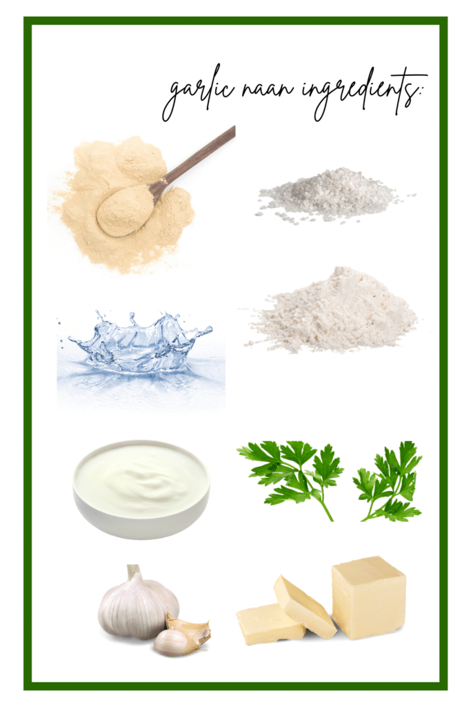 ingredients for garlic naan bread