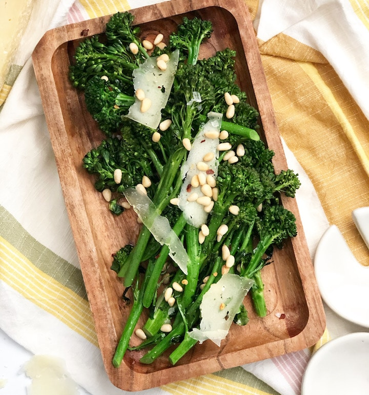 Roasted Broccolini With Parmesan and Pinenuts