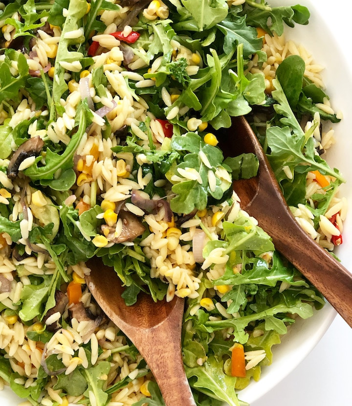 Orzo Pasta Salad With Roasted Vegetables and Lemon Vinaigrette