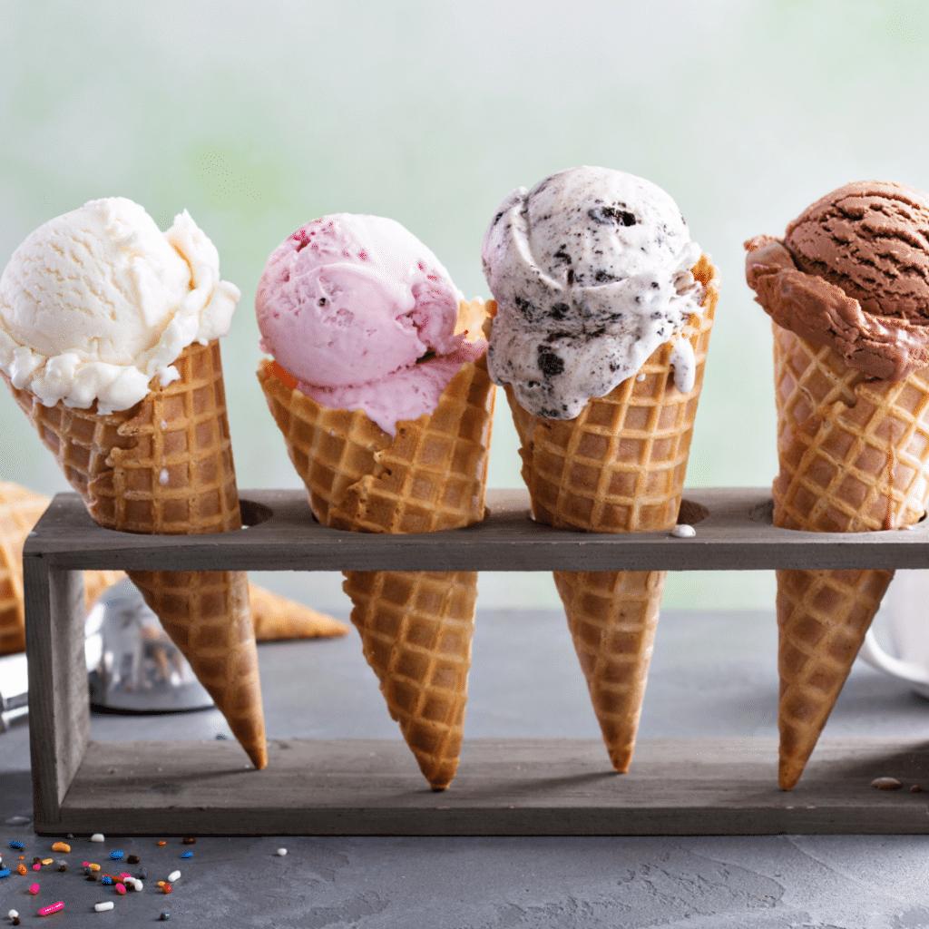 waffle cone with ice cream